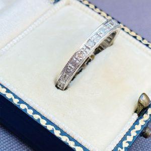 Art Deco, 18ct, 18k, 750 white gold, Diamond 0.42ct full eternity Ring, Size N