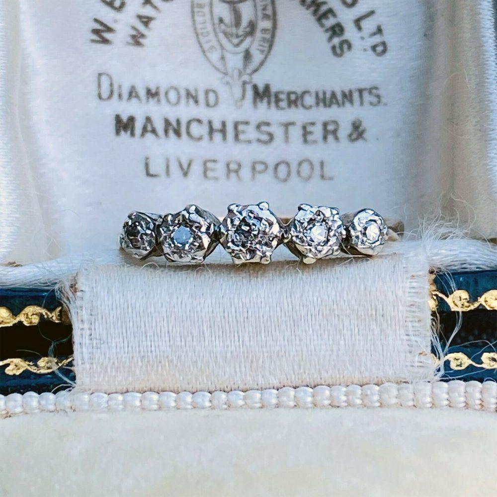 Art Deco 18ct, 18k, 750 Gold & Platinum, Diamond Five Stone engagement Ring