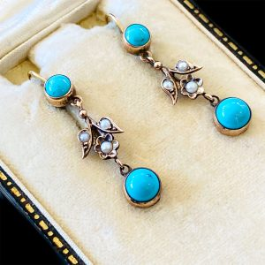 Edwardian 9ct Gold Turquoise and Pearl Drop Earrings, Circa 1901