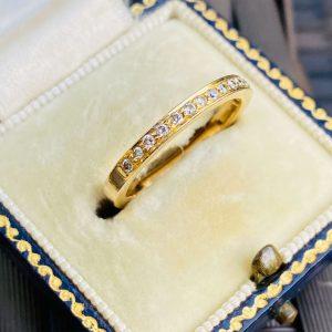 Vintage, 18ct, 18k, 750 gold, Diamond 0.15ct half eternity, anniversary, stacking, wedding ring