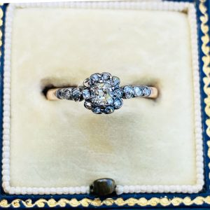 RESERVED- Antique, 9ct rose Gold, Diamond, Daisy, cluster engagement ring, Circa 1830 & 1916