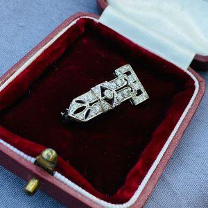 Fabulous, Art Deco Platinum & 18ct Diamond 0.89ct encrusted buckle, brooch C1920