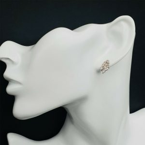 Art Deco, Platinum & Diamond (0.80ct) geometric design stud earrings