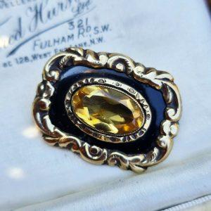 Victorian 18ct, 18k, 750 gold, black Enamel & Citrine mourning brooch, 22 x 29mm