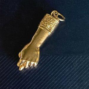Vintage, 18ct, 18k, 750 Yellow Gold, Figa Fist, hand, Good Luck Pendant, Charm