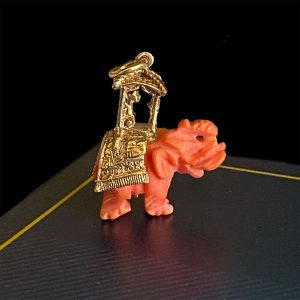 Vintage 9ct 9k 375 rose gold Maharaja & Genuine red coral Elephant charm/pendant