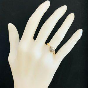 Art deco 18ct, 18k, 750 Gold & Platinum, Diamond, Daisy, cluster engagement ring