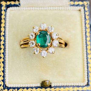 Stunning 18ct, 18k, 750 Gold Emerald & Diamond (1.25ct) Cluster, engagement Ring